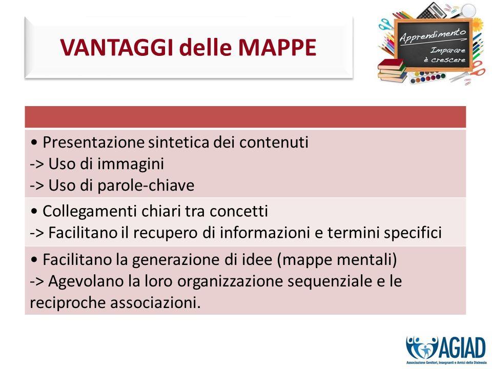 VANTAGGI delle MAPPE • Presentazione sintetica dei contenuti
