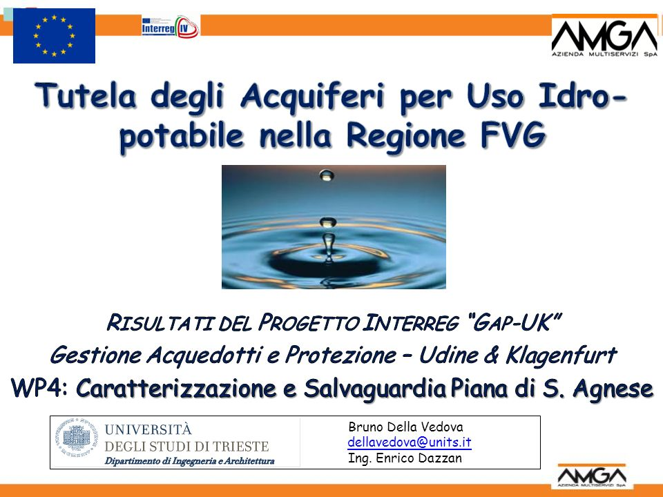 Tutela degli Acquiferi per Uso Idro-potabile nella Regione FVG