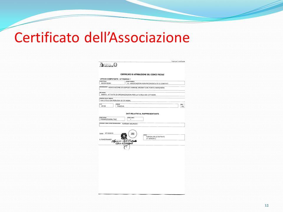 Certificato dell'Associazione