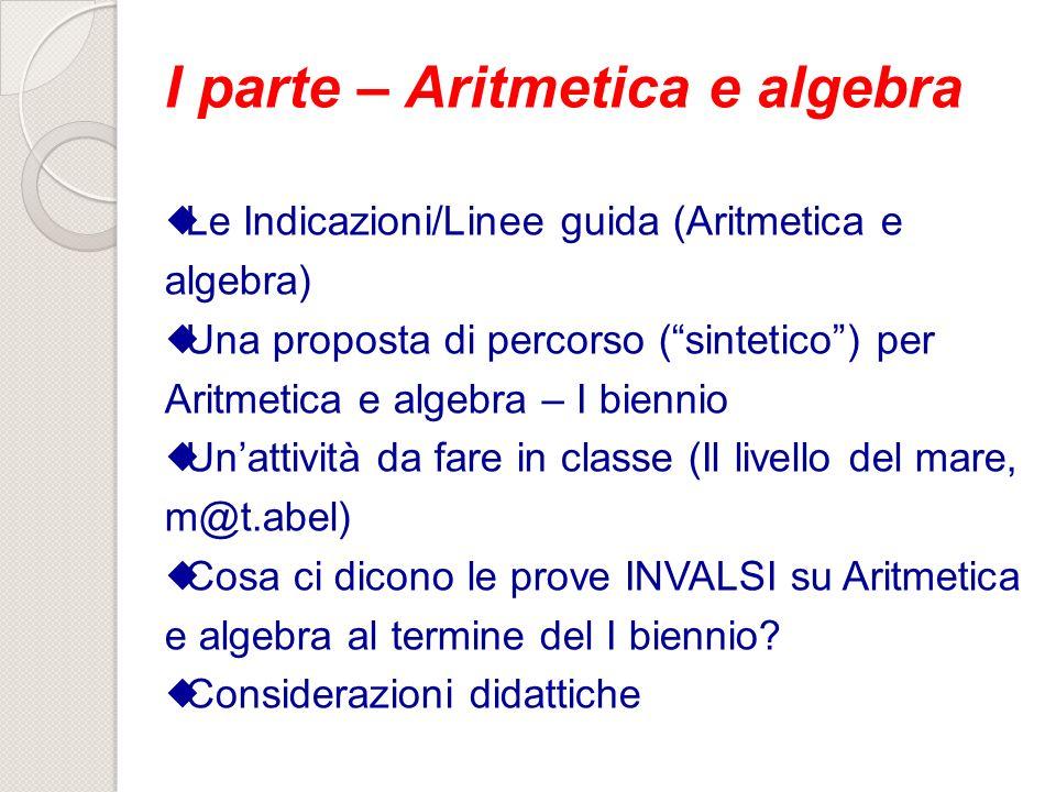 I parte – Aritmetica e algebra