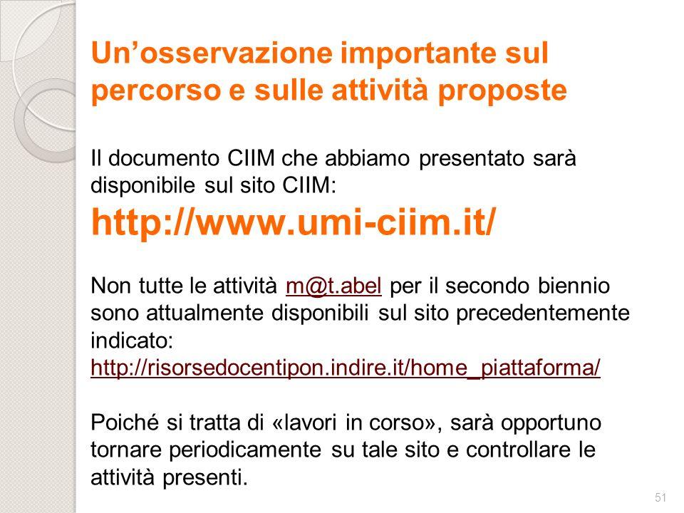 http://www.umi-ciim.it/ Un'osservazione importante sul