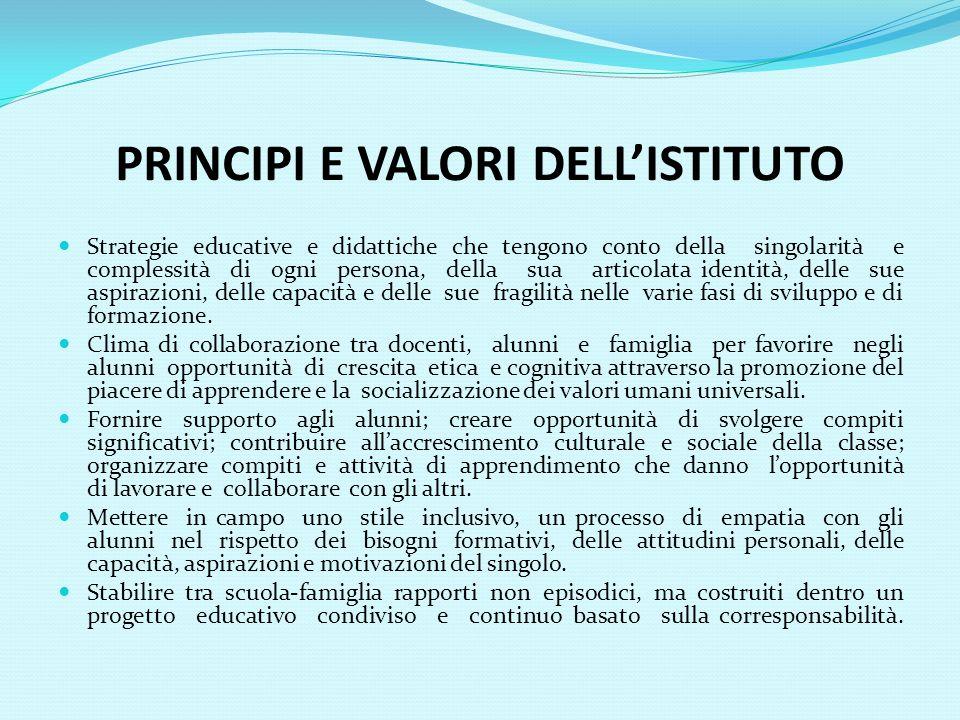 PRINCIPI E VALORI DELL'ISTITUTO