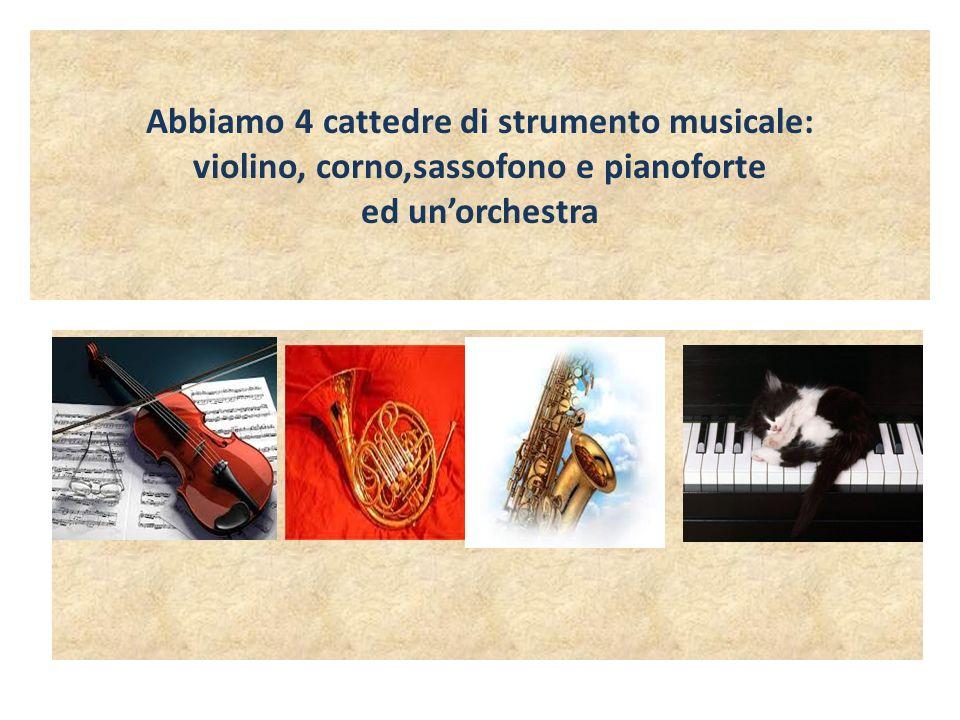 Abbiamo 4 cattedre di strumento musicale: violino, corno,sassofono e pianoforte ed un'orchestra