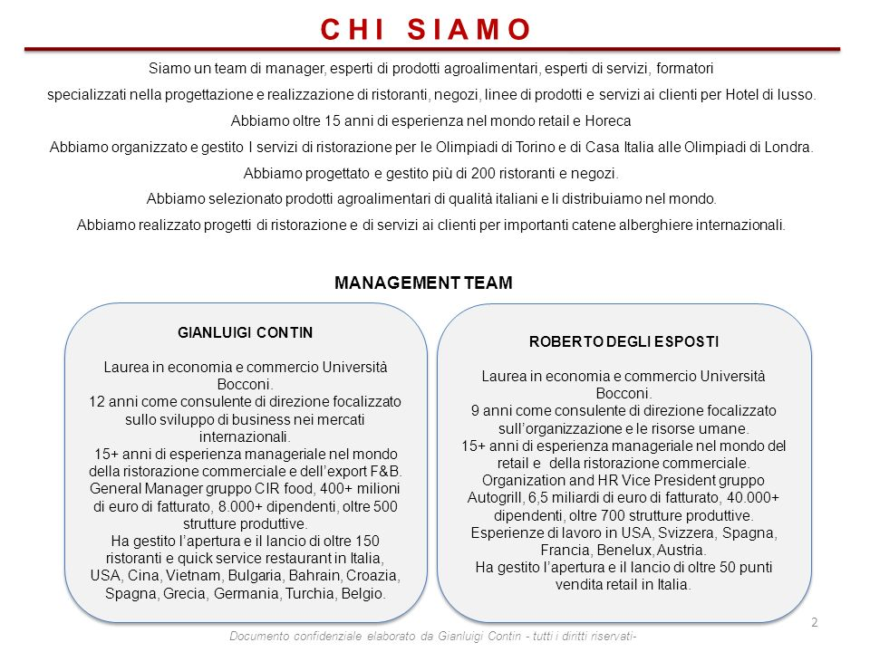 CHI SIAMO MANAGEMENT TEAM