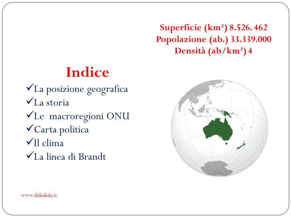 Indice La posizione geografica La storia Le macroregioni ONU