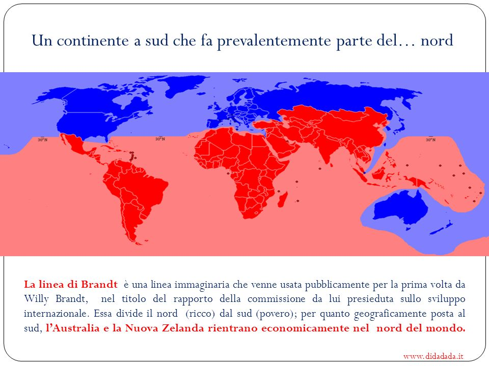Un continente a sud che fa prevalentemente parte del… nord