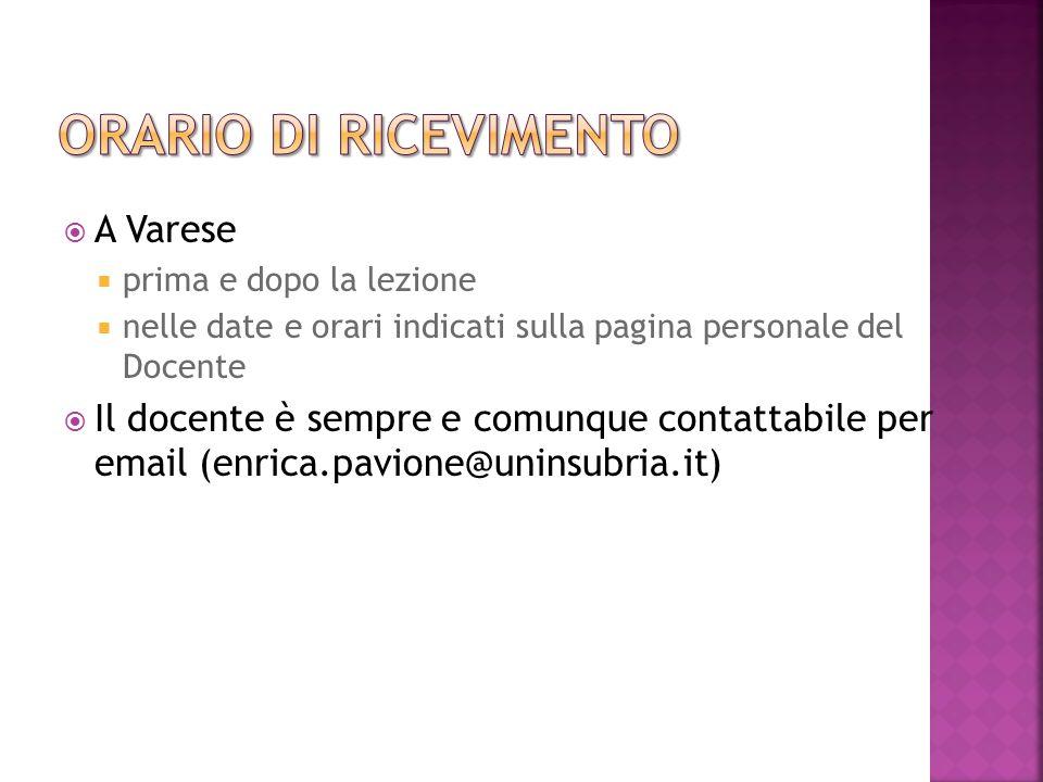 Orario di ricevimento A Varese