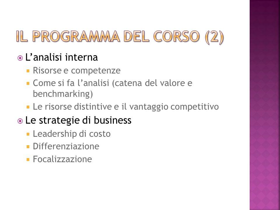 Il programma del corso (2)