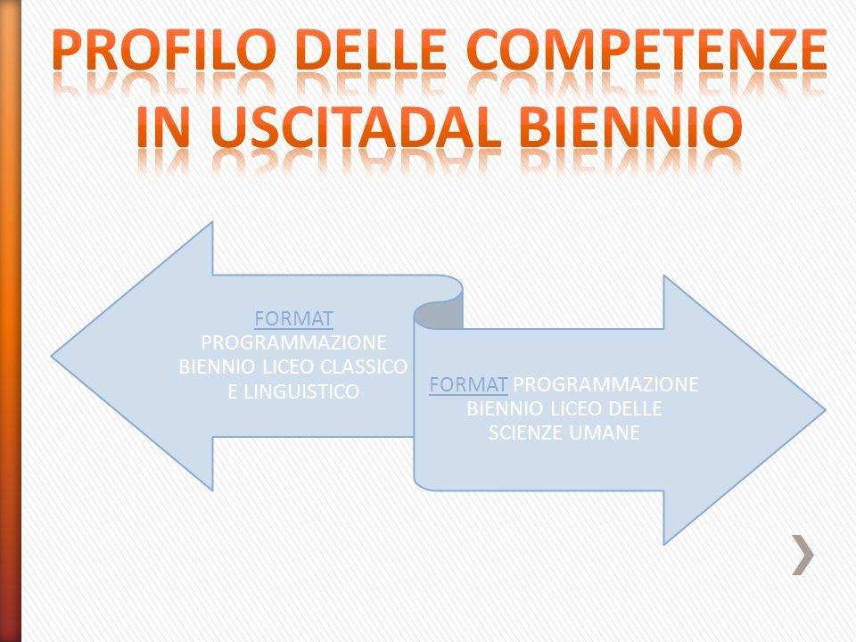 PROFILO DELLE COMPETENZE IN USCITADAL BIENNIO