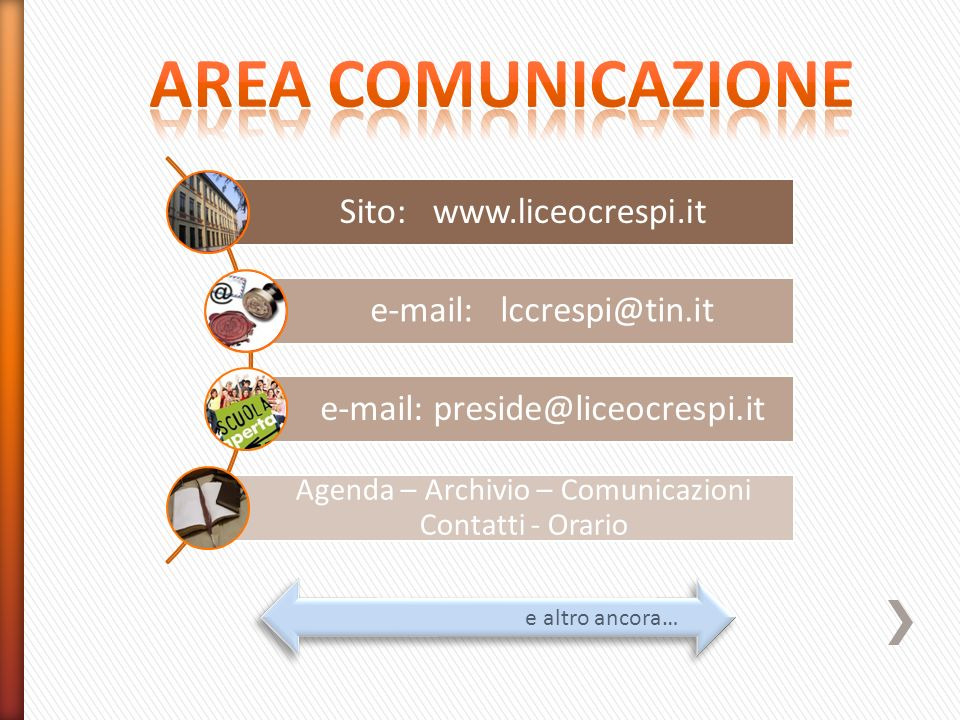AREA COMUNICAZIONE Sito: www.liceocrespi.it e-mail: lccrespi@tin.it