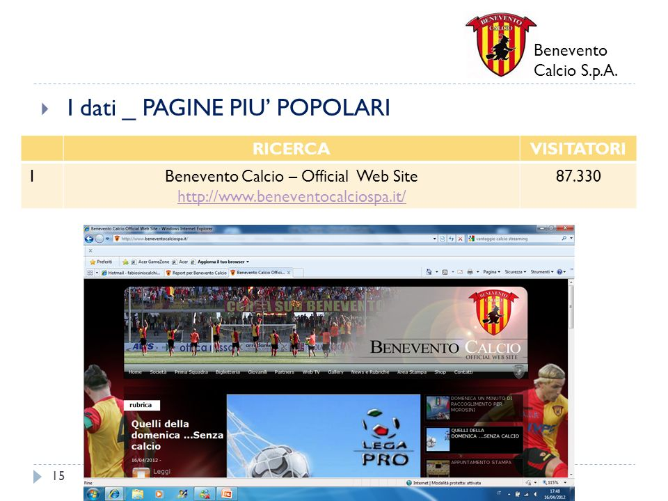 Benevento Calcio – Official Web Site http://www.beneventocalciospa.it/