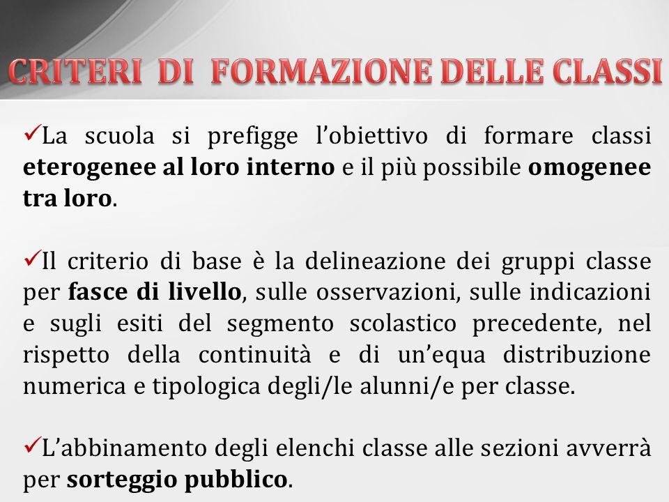 CRITERI DI FORMAZIONE DELLE CLASSI