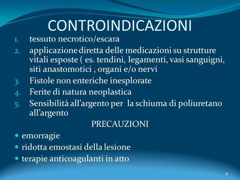 CONTROINDICAZIONI tessuto necrotico/escara