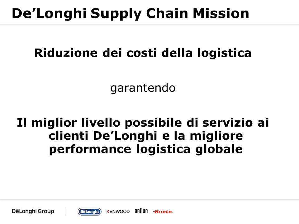 De'Longhi Supply Chain Mission