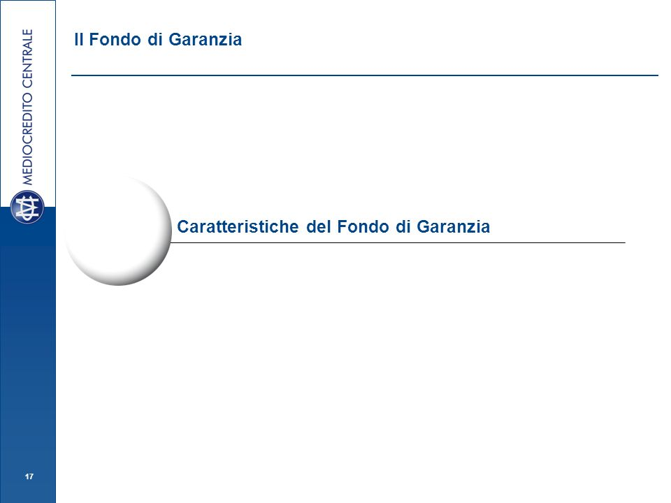 Il Fondo di Garanzia Caratteristiche del Fondo di Garanzia