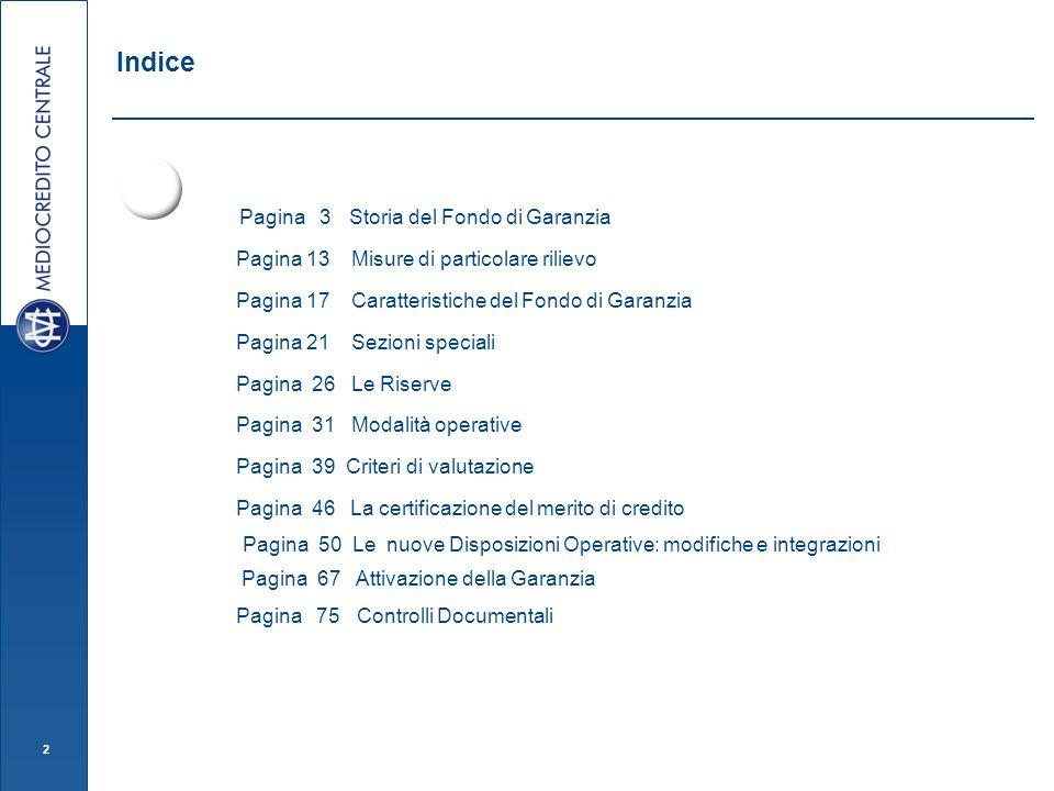 Indice Pagina 3 Storia del Fondo di Garanzia