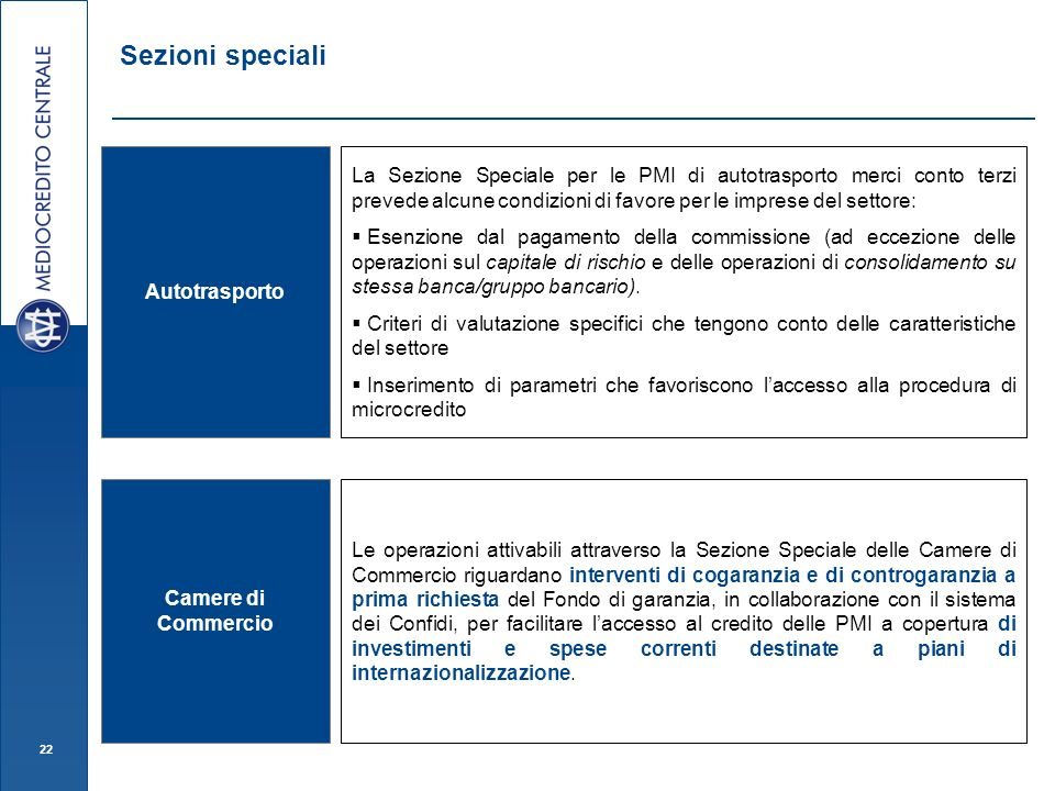 Sezioni speciali Autotrasporto.