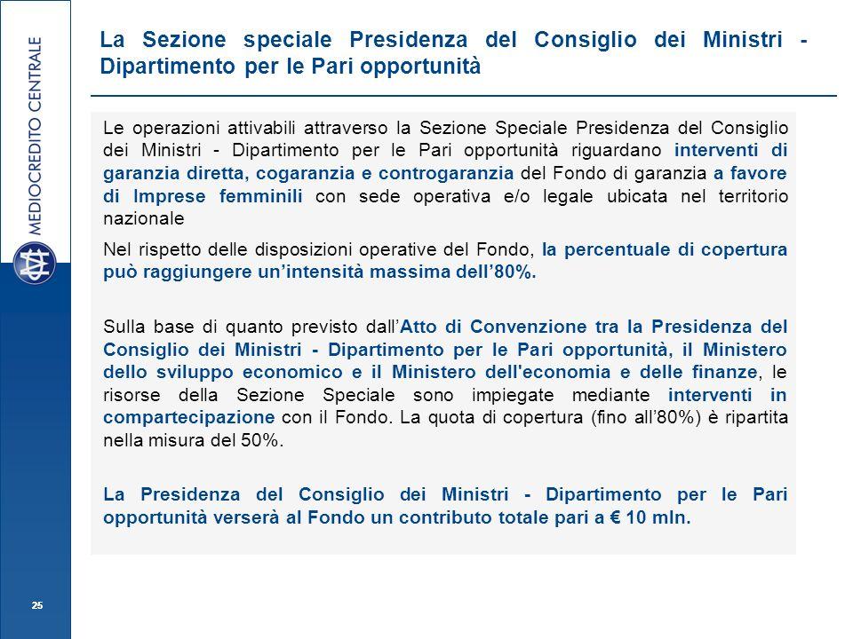 La Sezione speciale Presidenza del Consiglio dei Ministri - Dipartimento per le Pari opportunità