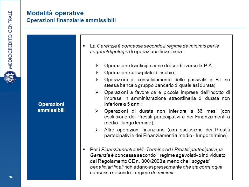 Modalità operative Operazioni finanziarie ammissibili