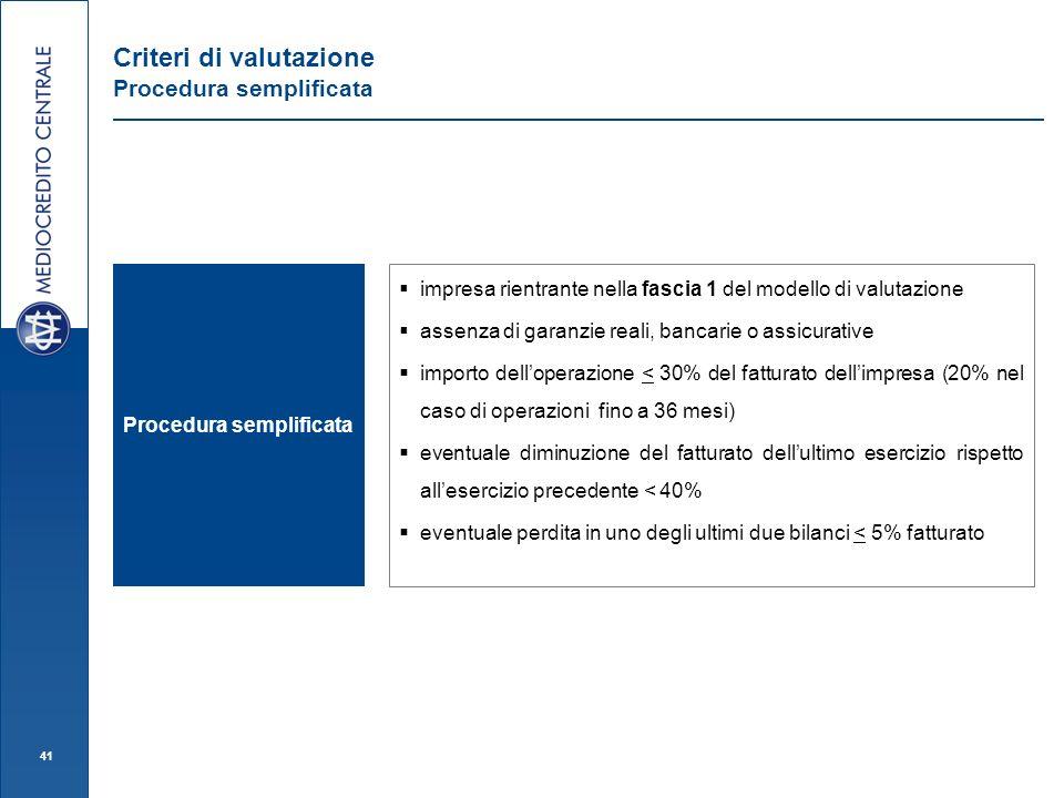 Criteri di valutazione Procedura semplificata