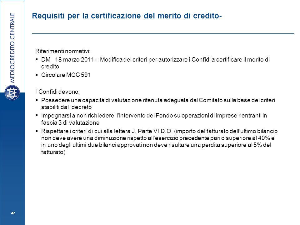 Requisiti per la certificazione del merito di credito-