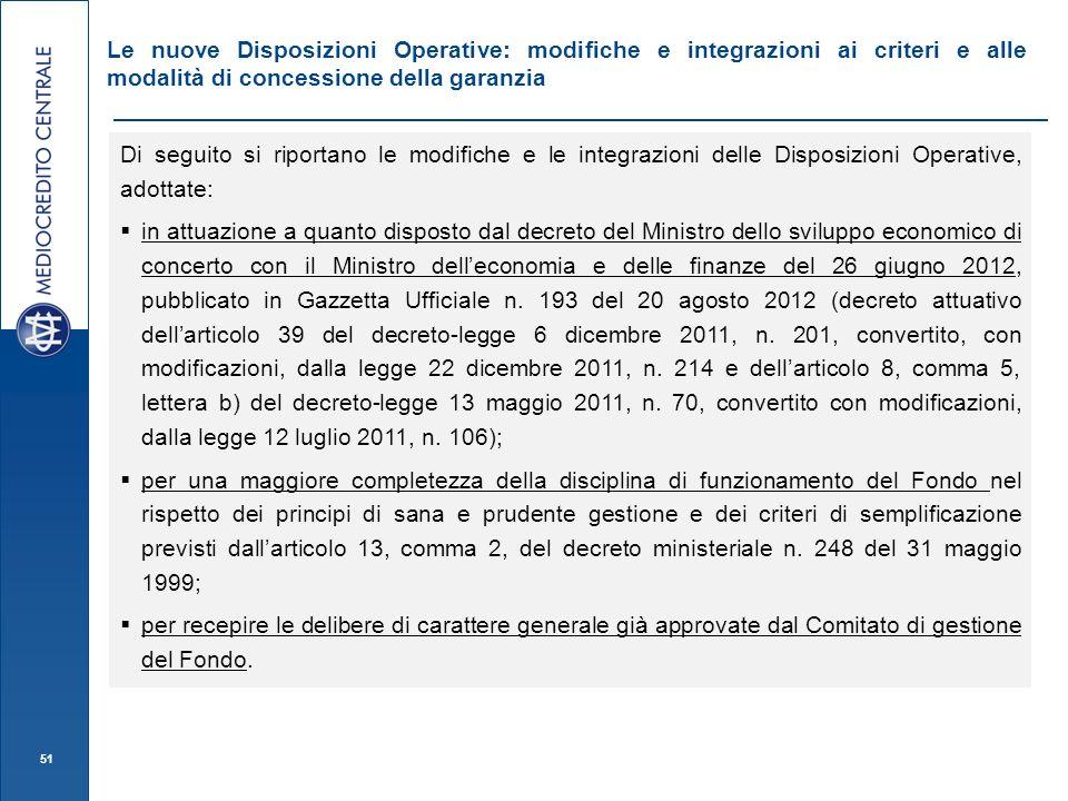 Le nuove Disposizioni Operative: modifiche e integrazioni ai criteri e alle modalità di concessione della garanzia