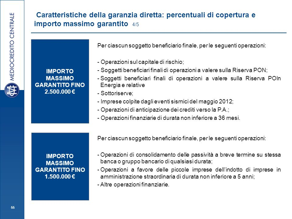 Caratteristiche della garanzia diretta: percentuali di copertura e importo massimo garantito 4/5