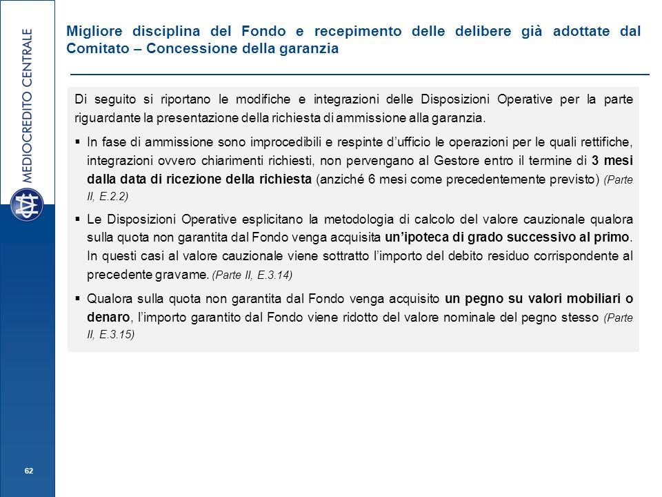 Migliore disciplina del Fondo e recepimento delle delibere già adottate dal Comitato – Concessione della garanzia