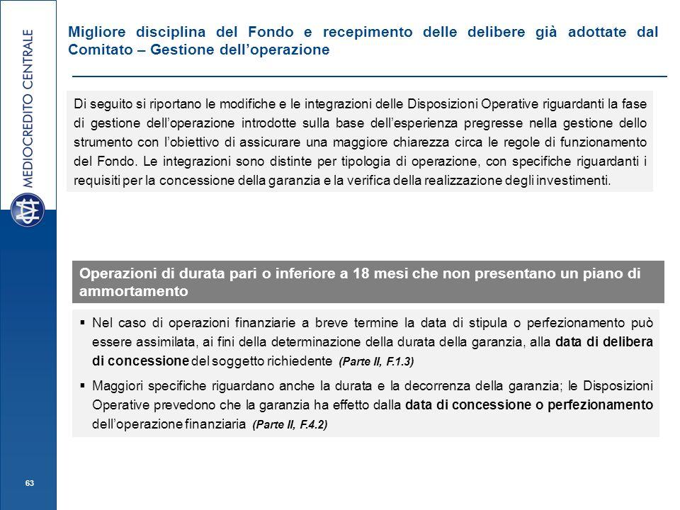 Migliore disciplina del Fondo e recepimento delle delibere già adottate dal Comitato – Gestione dell'operazione