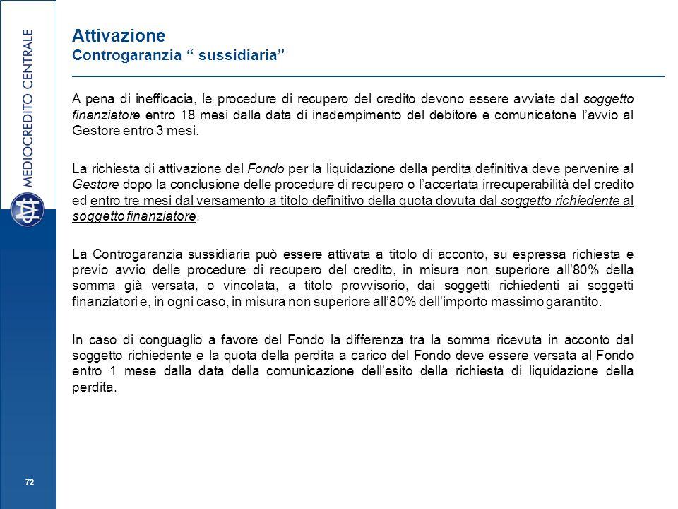 Attivazione Controgaranzia sussidiaria