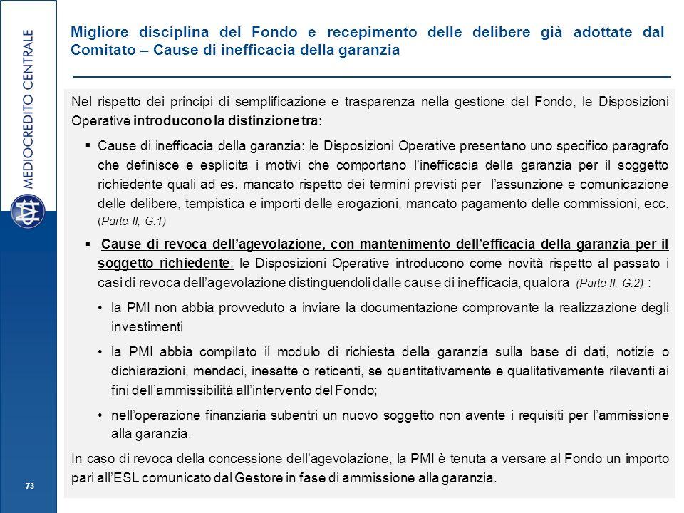 Migliore disciplina del Fondo e recepimento delle delibere già adottate dal Comitato – Cause di inefficacia della garanzia