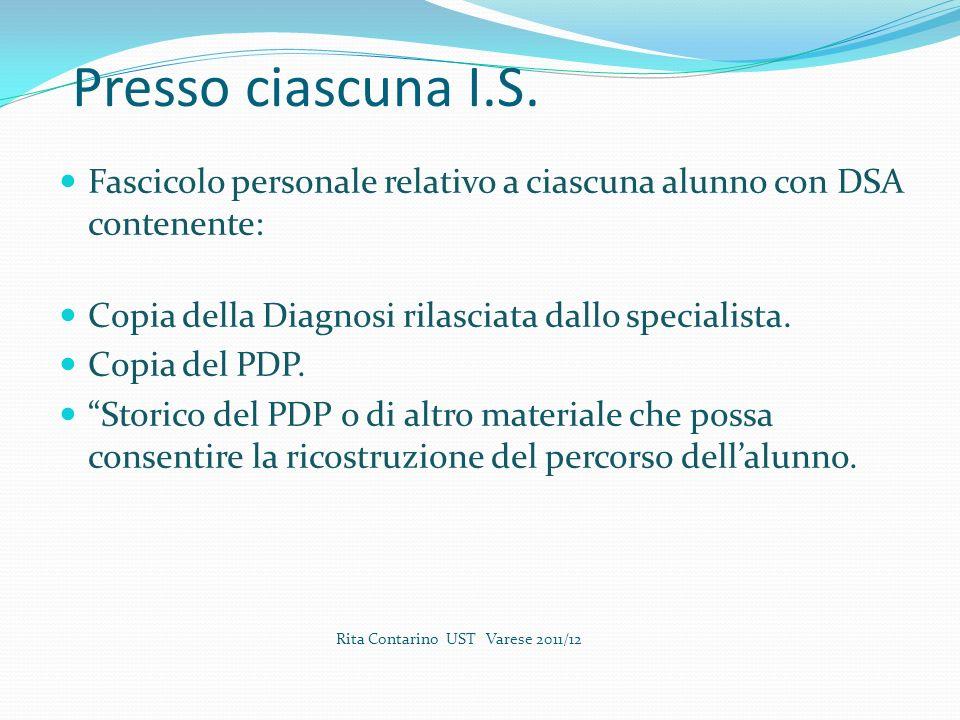 Presso ciascuna I.S. Fascicolo personale relativo a ciascuna alunno con DSA contenente: Copia della Diagnosi rilasciata dallo specialista.