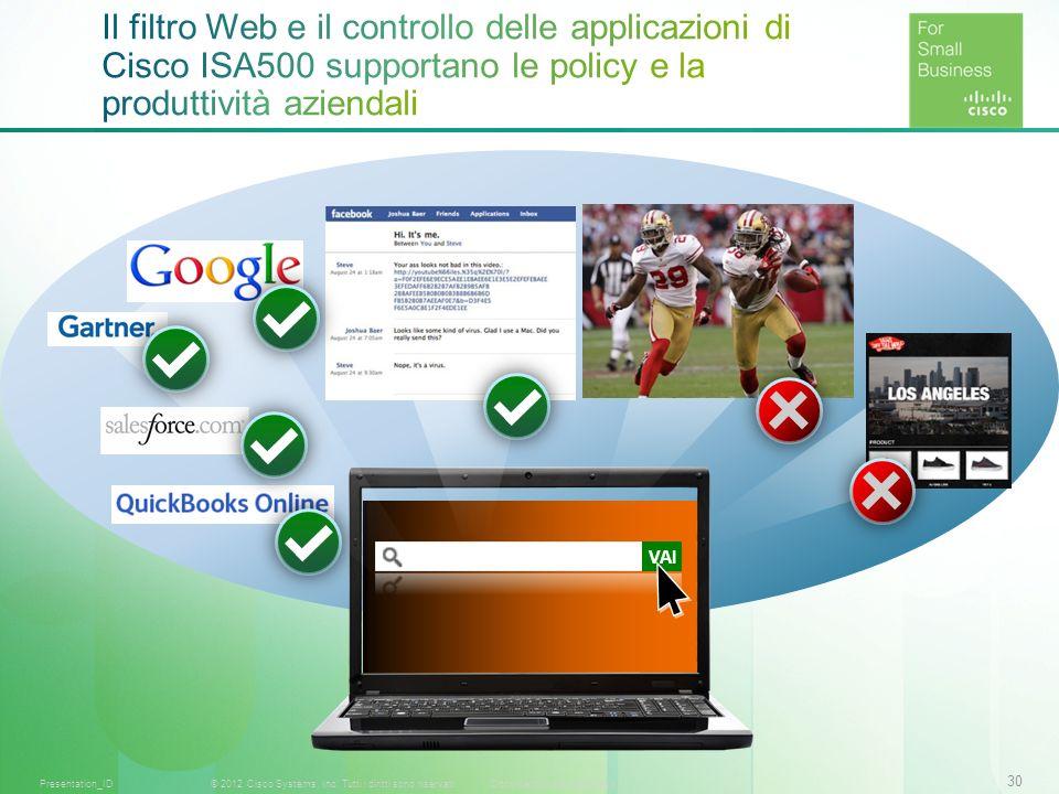 Il filtro Web e il controllo delle applicazioni di Cisco ISA500 supportano le policy e la produttività aziendali