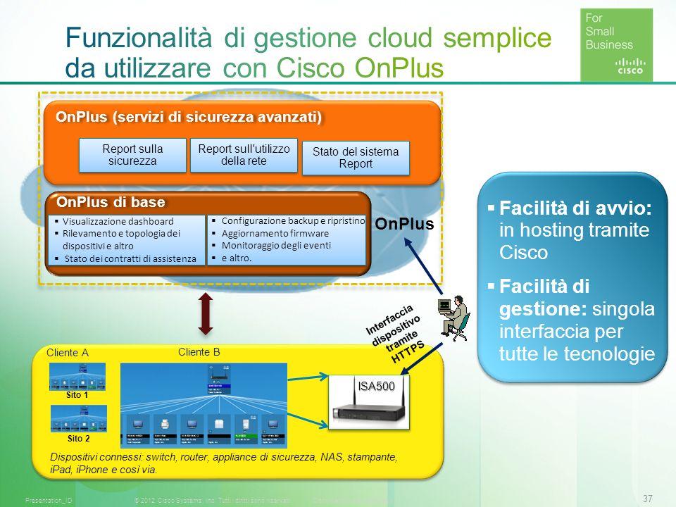 Funzionalità di gestione cloud semplice da utilizzare con Cisco OnPlus