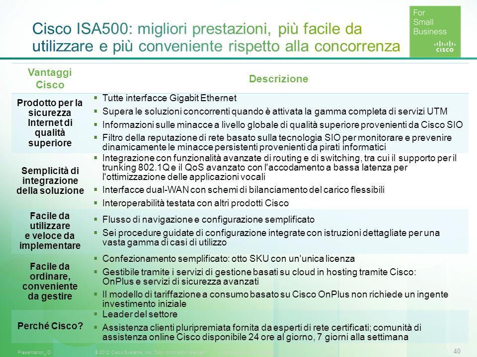 Cisco ISA500: migliori prestazioni, più facile da utilizzare e più conveniente rispetto alla concorrenza