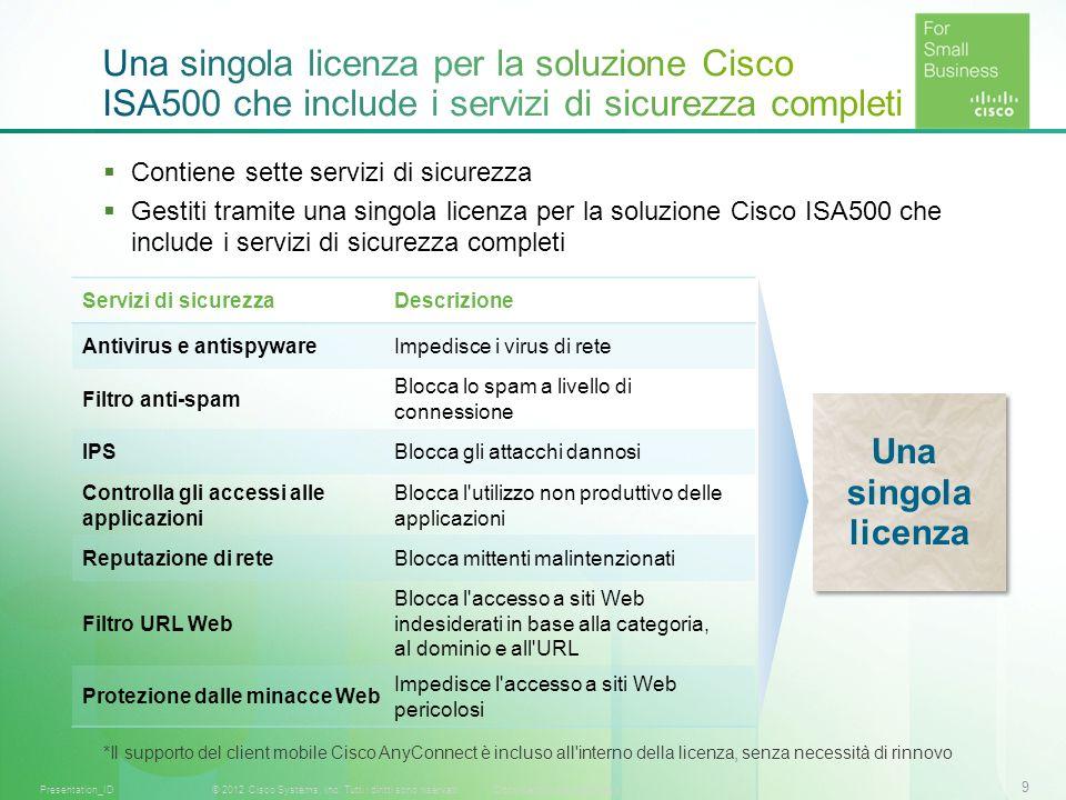 Una singola licenza per la soluzione Cisco ISA500 che include i servizi di sicurezza completi