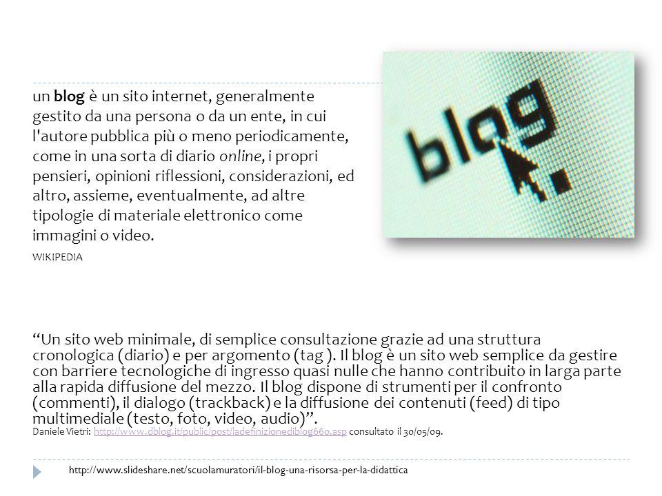 un blog è un sito internet, generalmente gestito da una persona o da un ente, in cui l autore pubblica più o meno periodicamente, come in una sorta di diario online, i propri pensieri, opinioni riflessioni, considerazioni, ed altro, assieme, eventualmente, ad altre tipologie di materiale elettronico come immagini o video.