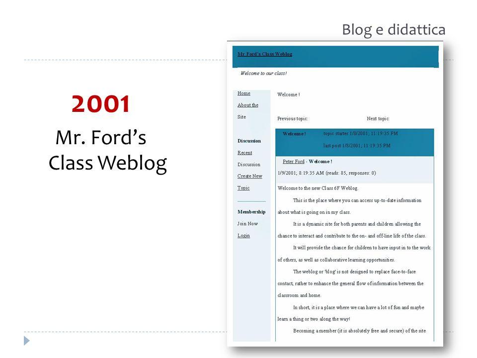 Blog e didattica 2001 Mr. Ford's Class Weblog