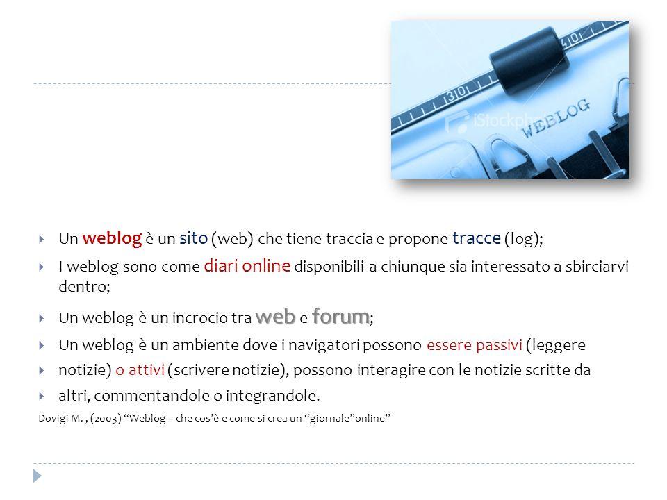 Un weblog è un sito (web) che tiene traccia e propone tracce (log);