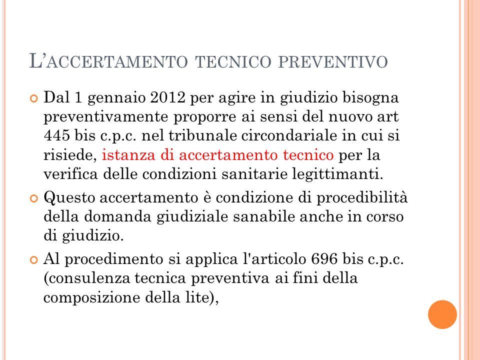 L'accertamento tecnico preventivo