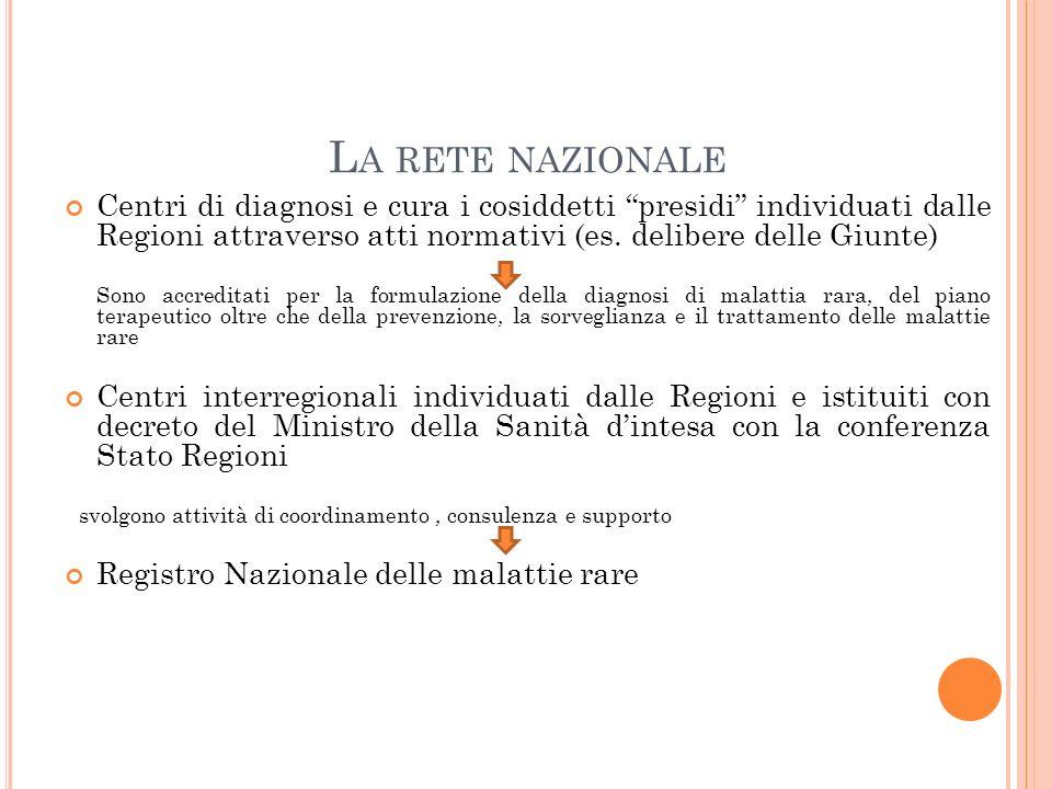 La rete nazionale Centri di diagnosi e cura i cosiddetti presidi individuati dalle Regioni attraverso atti normativi (es. delibere delle Giunte)