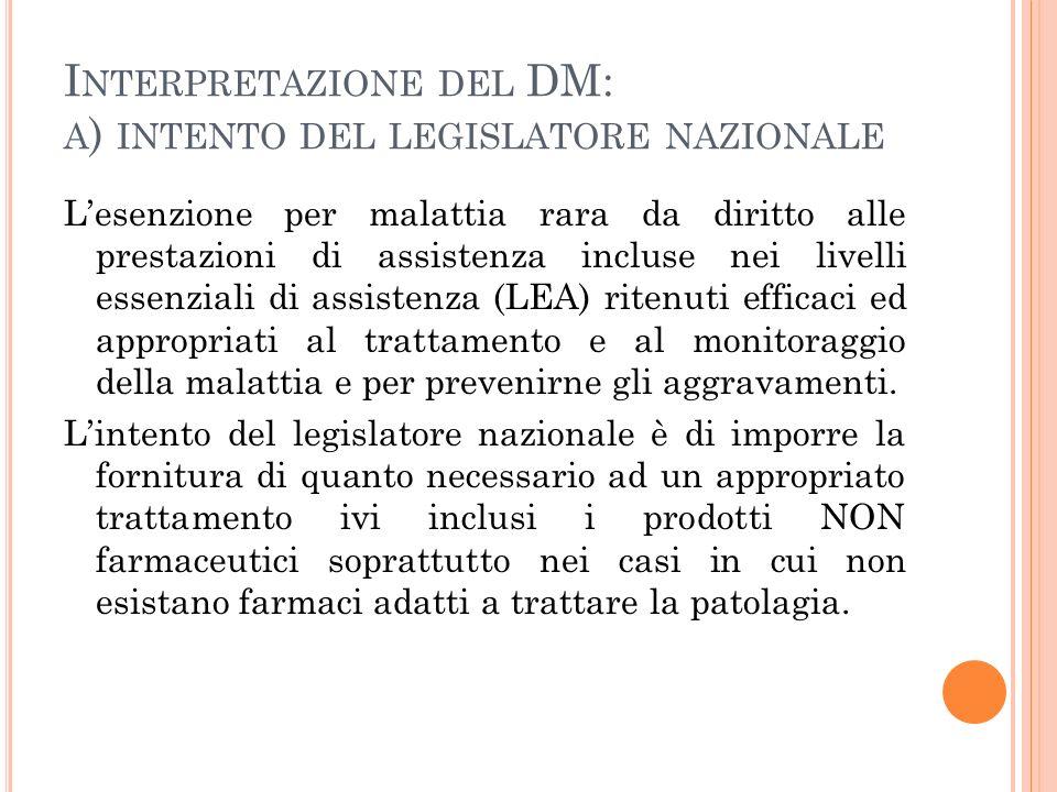 Interpretazione del DM: a) intento del legislatore nazionale