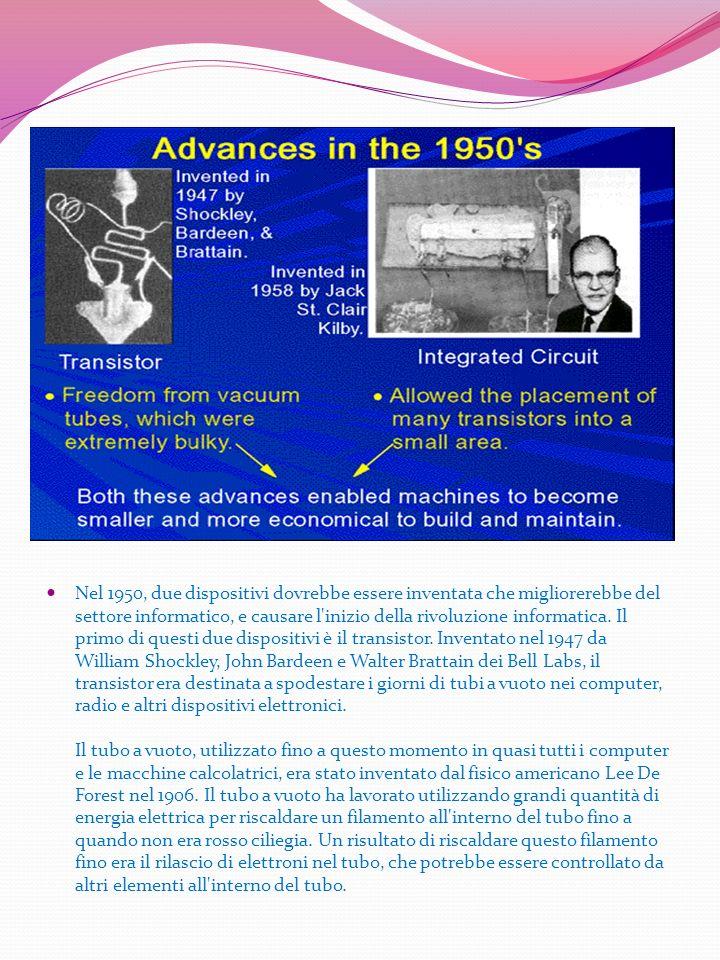 Nel 1950, due dispositivi dovrebbe essere inventata che migliorerebbe del settore informatico, e causare l inizio della rivoluzione informatica. Il primo di questi due dispositivi è il transistor. Inventato nel 1947 da William Shockley, John Bardeen e Walter Brattain dei Bell Labs, il transistor era destinata a spodestare i giorni di tubi a vuoto nei computer, radio e altri dispositivi elettronici.