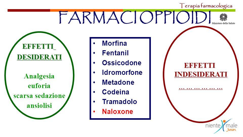FARMACI OPPIOIDI EFFETTI DESIDERATI EFFETTI INDESIDERATI Analgesia