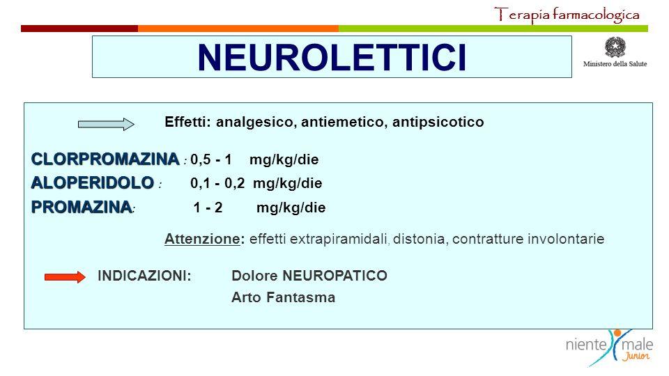 NEUROLETTICI Effetti: analgesico, antiemetico, antipsicotico