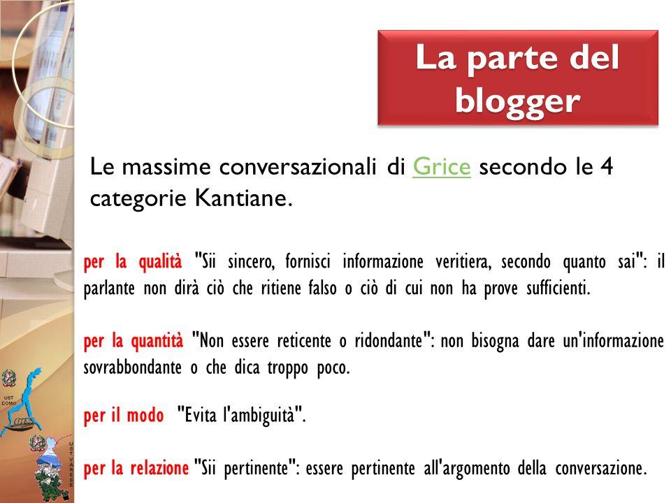 La parte del blogger Le massime conversazionali di Grice secondo le 4 categorie Kantiane.