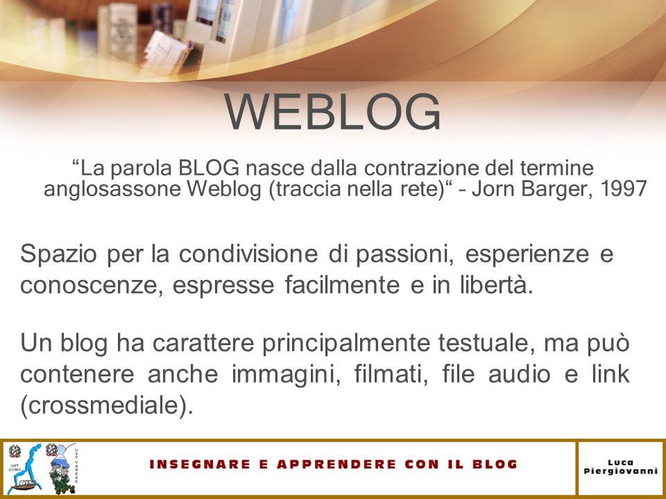WEBLOG La parola BLOG nasce dalla contrazione del termine anglosassone Weblog (traccia nella rete) – Jorn Barger, 1997.