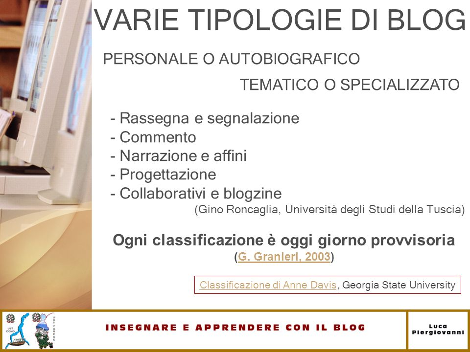 VARIE TIPOLOGIE DI BLOG