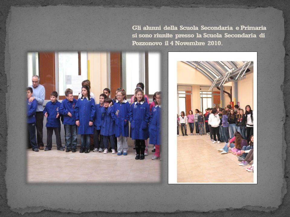 Gli alunni della Scuola Secondaria e Primaria si sono riunite presso la Scuola Secondaria di Pozzonovo il 4 Novembre 2010.