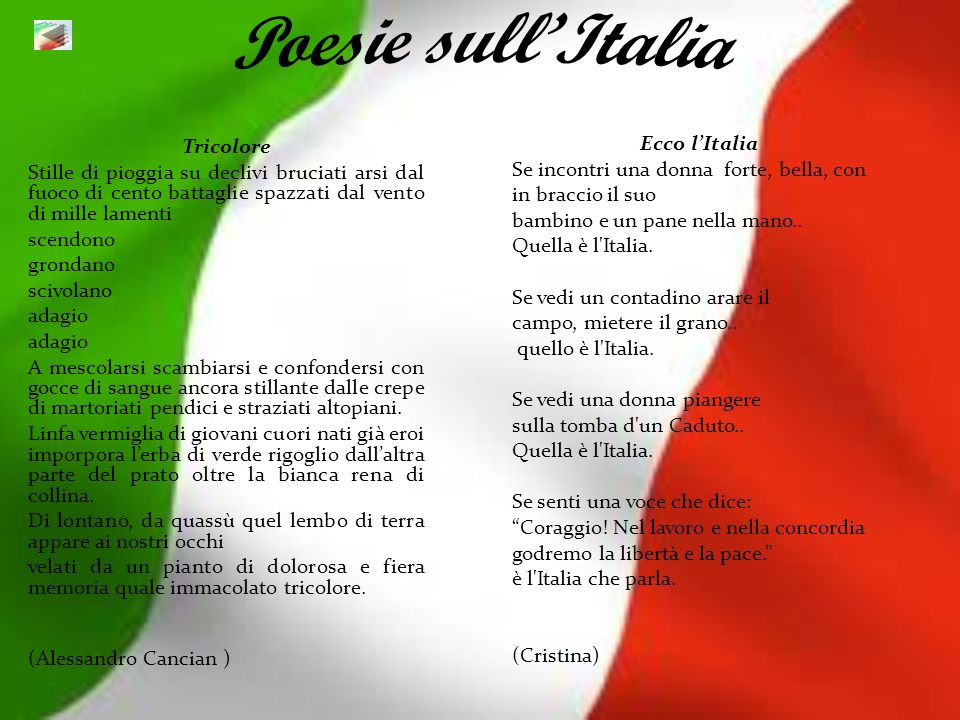Poesie sull'Italia Ecco l'Italia